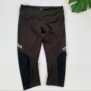 SoulCycle Cropped Black Leggings with Mesh Sides L